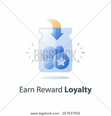 Earn Points, Loyalty Program, Collect Bonus Tokens, Cash Back, Perks Concept, Full Glass Jar, Vector