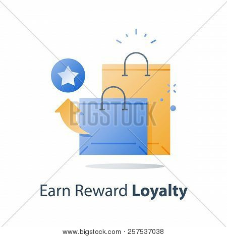 Reward Points, Earn Discount, Loyalty Concept, Incentive Program, Redeem Gift, Collect Bonus, Shoppi