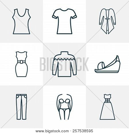 Fashion Icons Line Style Set With Cardigan, Bikini, Sleeveless Dress And Other Swimsuit Elements. Is