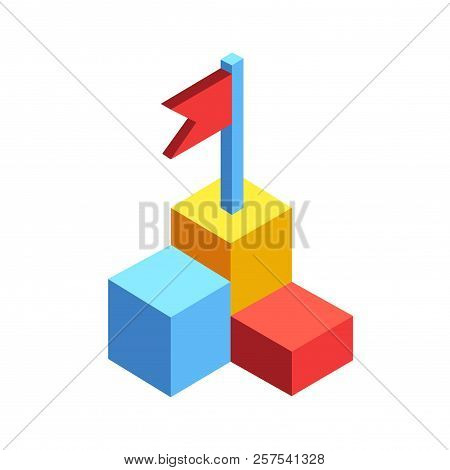 Flag On Rank Icon Vector Illustration In Isometric Design
