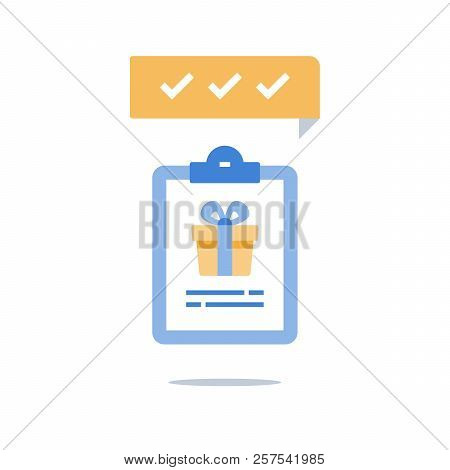 Loyalty Program, Earn Reward, Redeem Gift, Present Box And Clipboard, Policy Check List, Vector Icon