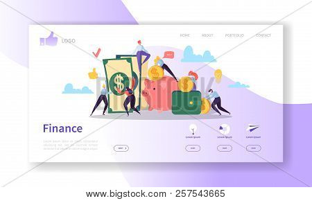 Business And Finance Landing Page Template.  Website Layout With Flat People Characters Making Money