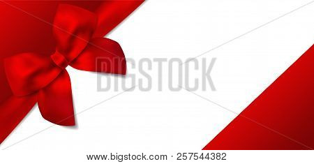 Voucher, Gift Certificate, Coupon Template. Red Bow, Red Ribbon On White Background. Blank Vector De