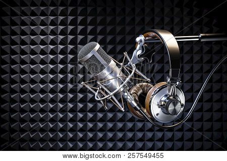 Headphones On Microphone On The Background Of Sound-absorbing Liner. 3D