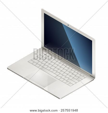Isometric Illusration Of Laptop, Isolated On White Background. Eps 10 Contains Transparency.