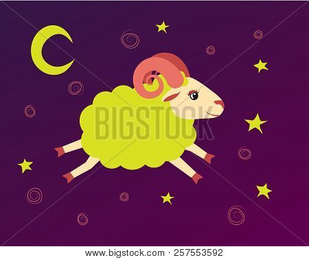 Lamb Flies In The Starry Sky Between The Stars. Illustration Baa-lamb Symbol Of A Lullaby And Bedtim