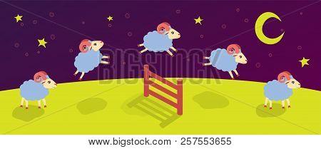 Count Lambs And Rams For Sleep. Baa-lamb. Jump Over The Fence
