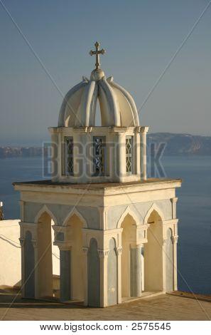 Church Dome In Santorini, Greece