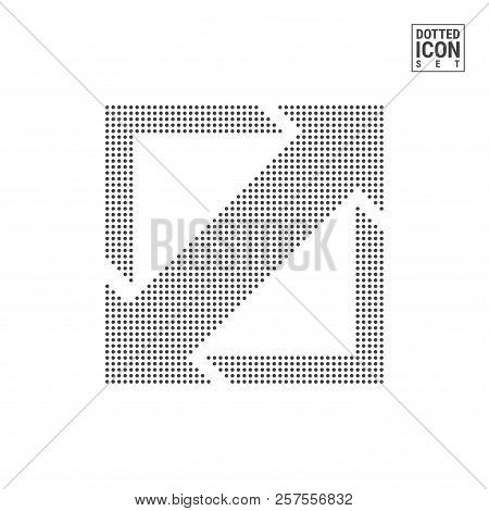 Expand, Resize Dot Pattern Icon. Full Screen Dotted Icon Isolated On White Background. Vector Illust
