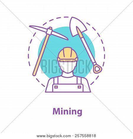 Mining Industry Concept Icon. Minerals Extraction Idea Thin Line Illustration. Miner, Shovel, Pickax
