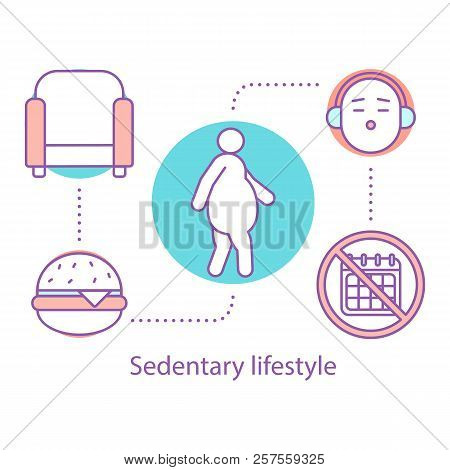 Sedentary Lifestyle Concept Icon. Obesity Problem Idea Thin Line Illustration. Physical Inactivity A