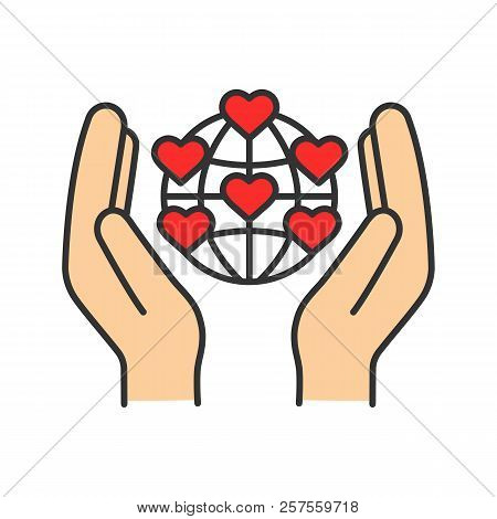 International Charity Color Icon. Hands Holding Planet With Heart Points. Earth Saving. Global Volun