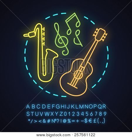 Music Store Neon Light Concept Icon. Music Festival Or Concert Idea. Guitar, Saxophone. Glowing Sign