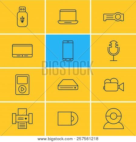 Illustration Of 12 Device Icons Line Style. Editable Set Of Printer, Microphone, Tablet Phone And Ot