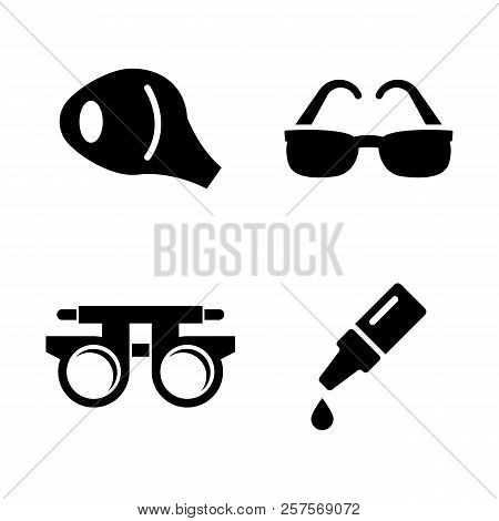 Optometry, Vision. Simple Related Vector Icons Set For Video, Mobile Apps, Web Sites, Print Projects