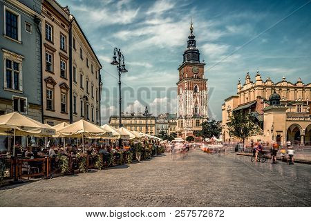 Krakow, Poland - August 18:  Krakow Town Hall Tower At Main Square Called Rynek Glowny On August, 18