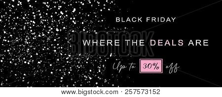Black Friday Sale Wide Elegant Banner, Vector Illustration. Black Background, Silver Sparkling Glitt