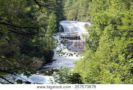Waterfall Tree Scenery In North Carolina Mountains