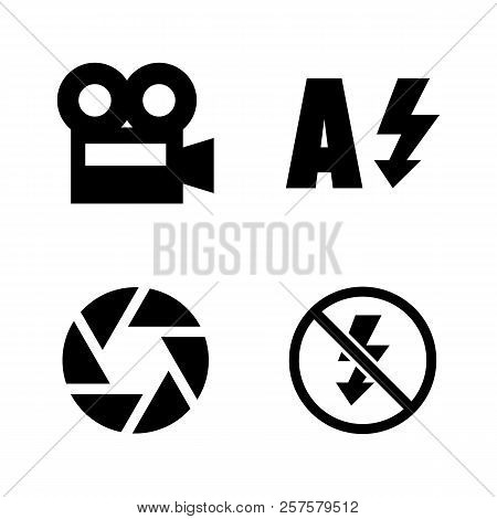 Camera Functions, Menu Mode. Simple Related Vector Icons Set For Video, Mobile Apps, Web Sites, Prin