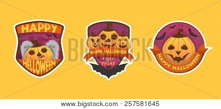 Set Of Cartoon Style Happy Halloween Labels And Budges.with Pumpkin Heads. Stickers, Paper Cut Tags.
