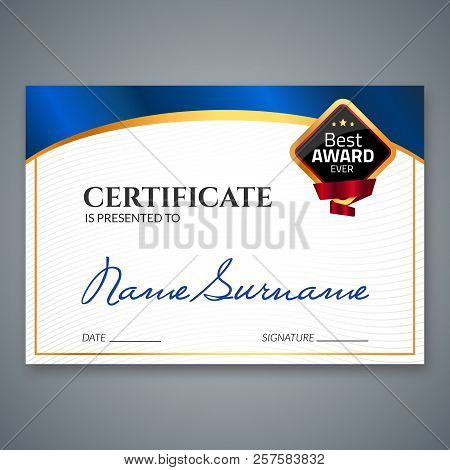 Certificate Template Luxury Award. Vector Business Diploma With Seal Stamp. Gift Coupon Or Success A