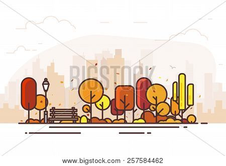 Autumn Park. City Park Bench, Lawn And Trees. Flat Style Line Vector Illustration. On Background Bus