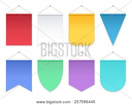 Color Pennant. Triangle Hanging Banners And Flags. Fabric Football Team Pennants Vector Template. Il