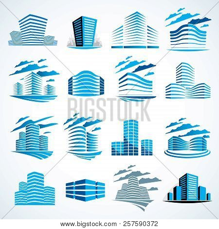 City Buildings Business Financial Office Vector Design Set. Futuristic Architecture Illustrations Co