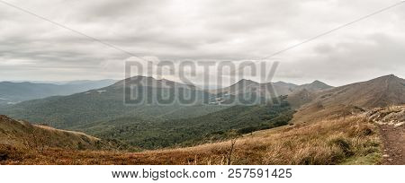 Spectacular Panorama Of Wild Bieszczady Mountains With Many Hills Covered By Mountain Meadows And De