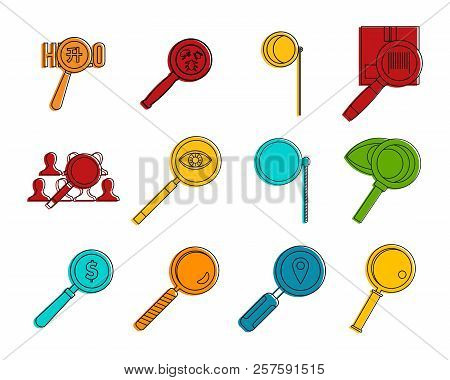 Magnified Glass Icon Set. Color Outline Set Of Magnified Glass Icons For Web Design Isolated On Whit