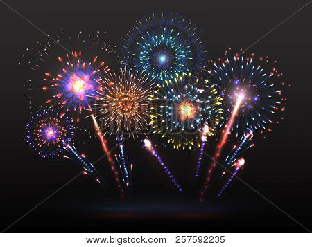 Fireworks Background. Firework Petard Exploding In Night. Light Effect With Firecracker Sparks. 2019