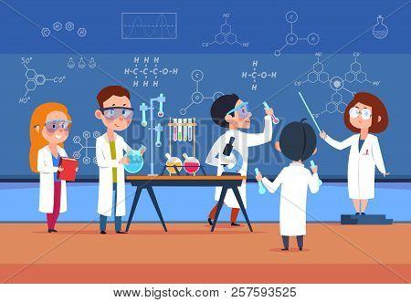 School Kids In Chemistry Lab. Children In Science Laboratory Make Test. Cartoon Pupils Girls And Boy