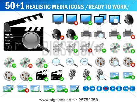 vector realistic media icons (ready to use)