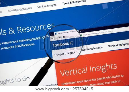 Montreal, Canada - September 8, 2018: Facebook Iq Page. Facebook Iq Offers Insights, Studies And Res