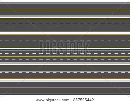 Highway Road Marking. Horizontal Straight Asphalt Roads, Modern Street Roadway Lines Or Empty Highwa