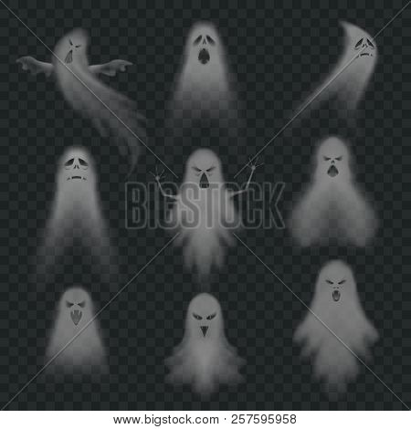Realistic Ghost. Scary Halloween Apparition Face, Ghostly Phantom Fly Figure Or Night Eerie Dead Gho