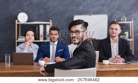 Happy Applicant Talking At Job Interview To Hr Comission At Job Interview, Copy Space