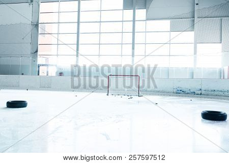 Ice Hockey Ice Rink And Empty Red Net