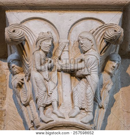 Vezelay, France - July 29, 2018: Capital On Pillar Of The Romanesque Church And Abbey Of Vezelay In