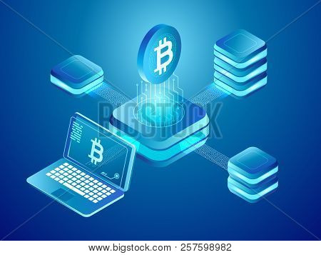 Blockchain Technology. Cryptocurrency Coins Mining, Secure Distributed Network Of Connected Mine Blo