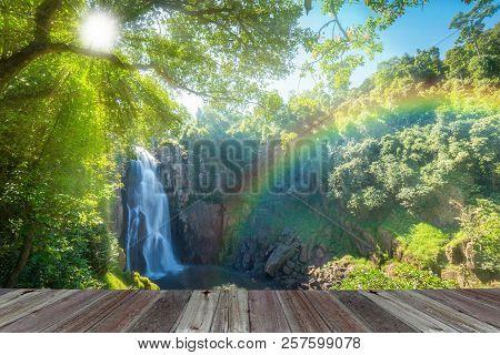Hew Narok, Beautiful Waterfall In Khao Yai National Park Of Thailand With Sun Rays And Rainbow.