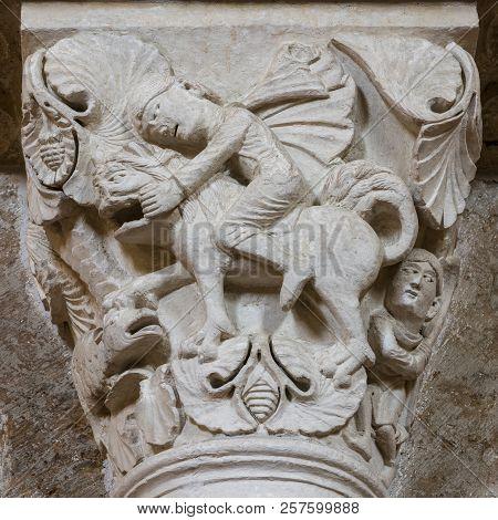 Vezelay, France - July 29, 2018: Capital On Pillar Of The Romanesque Abbey Of Vezelay In Yonne, Fran
