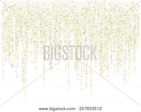 Garland Lights Gold Glitter Hanging Vertical Lines Vector Holiday Background. Confetti Dots Rain, Vi