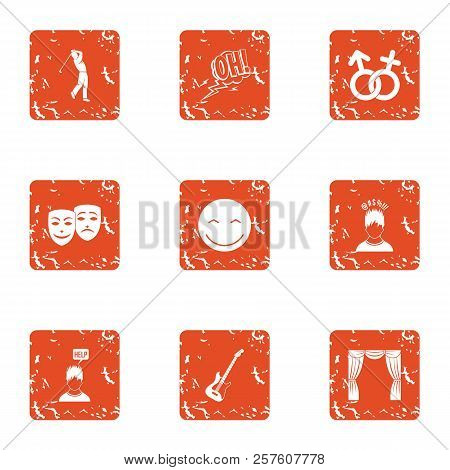 Attentive Attitude Icons Set. Grunge Set Of 9 Attentive Attitude Icons For Web Isolated On White Bac