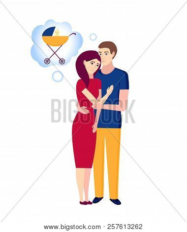 Happy Pregnancy Couple, Dreams Of A Child. Family Planning. Childbirth Control.