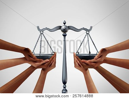 Social Justice And Equality Law In Society As Diverse People Holding The Balance In A Legal Scale As