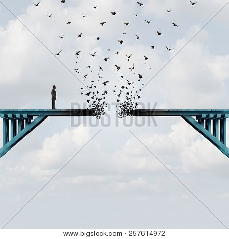 Lost Opportunity As A Businessman With A Broken Bridge As A Business Challenge Concept With 3d Illus