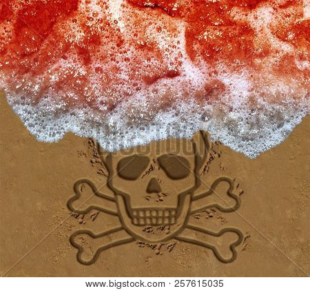 poster of Red tide ocean crisis as deadly algae or natural toxin found in the sea as a marine life death skull on the beach concept  in a 3D illustration style.