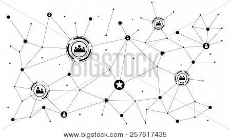 Concept Of Social Media Network. Network Of Icons. Communication Technology In Social Network. Conce