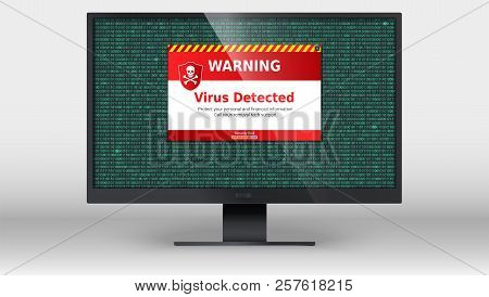 Computer Monitor With Alert Message Of Virus Detected . Scanning And Identifying Computer Virus Insi